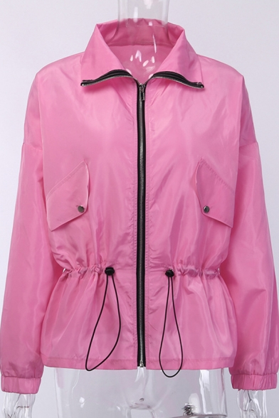 Active Womens Plain Long Sleeve Lapel Collar Adjustable Waist Zip Up Leisure Trench Coat Windbreaker