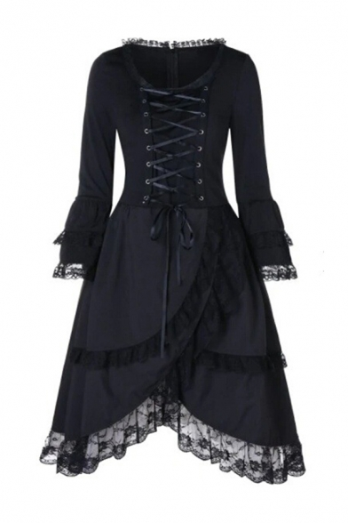 Black Punk Vintage Lace-Up Front Ruffle Lace Panel Mid-Length Party Dress
