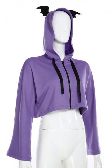Girls Loose Purple Lace-Up Back Long Sleeve Zipper Devil Horns Hooded Cropped Jacket Coat