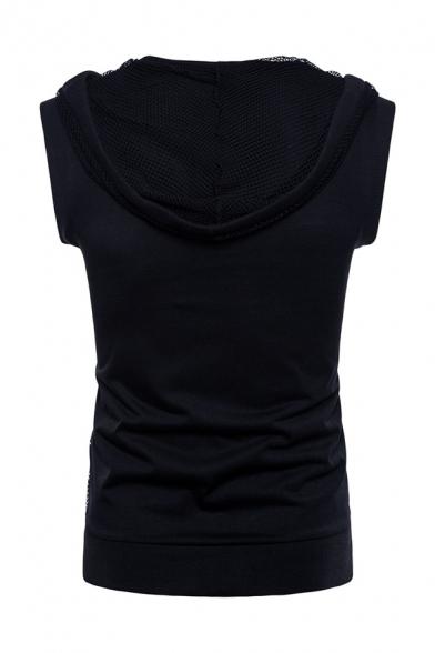Mens Casual Plain Sheer Mesh Patch Sleeveless Drawstring Hoodie Vest