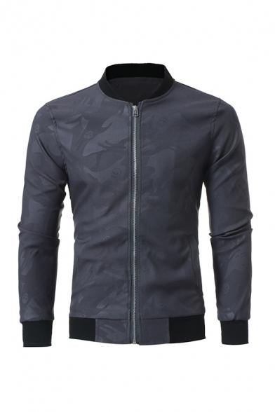 Mens Unique Fashion Skull Printed Long Sleeve Zip Up Leisure Jacket