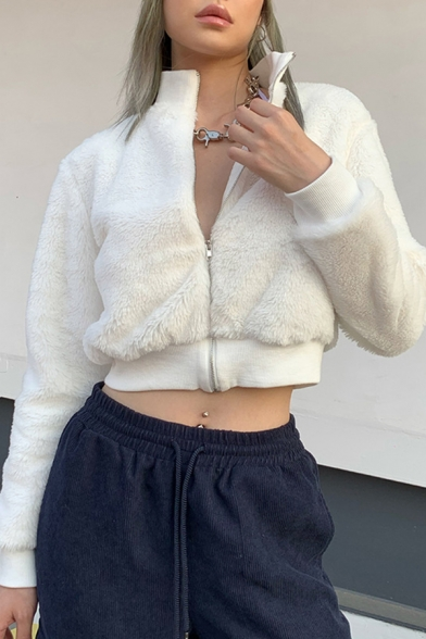White Plain Chic Stand Up Collar Long Sleeve Zipper Slim Fit Faux Fur Cropped Jacket Coat