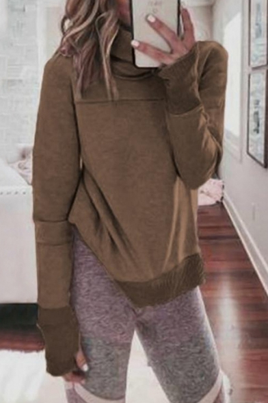 Whole Colored Funnel Neck Long Sleeve Casual Regular Sweatshirt for Women