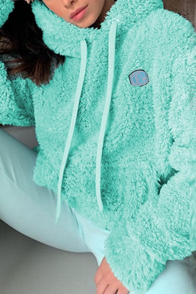 Women Warm Embroidery Letter Long Sleeve Plain Fluffy Sherpa Fleece Drawstring Hoodie with Pocket