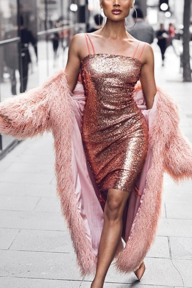 Womens Chic Plain Long Sleeve Open Front Faux Fur Longline Sheepskin Warm Coat