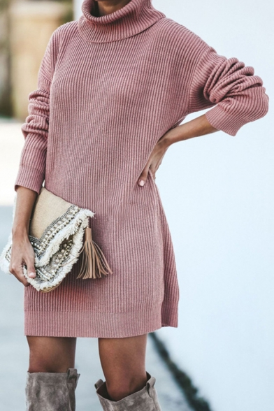 Womens Fashionable Pink Solid Color Long Sleeve Turtleneck Longline Loose Fit Sweater Midi Dress