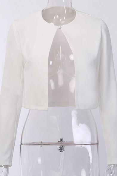 Womens Fashionable Plain Round Neck Long Sleeve Open Front Cropped Casual Cardigan Jacket Coat