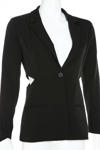 Womens Sexy Black Lapel Collar Long Sleeve Cutout Slim Fit Blazer Coat