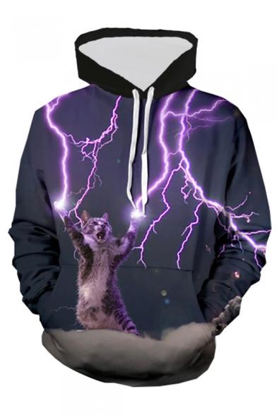 3D Light Cat Printed Long Sleeve Loose Hoodie
