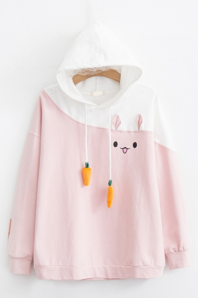Color Block Rabbit Carrot Drawstring Hood Long Sleeve Baggy Cute Pullover Hoodie