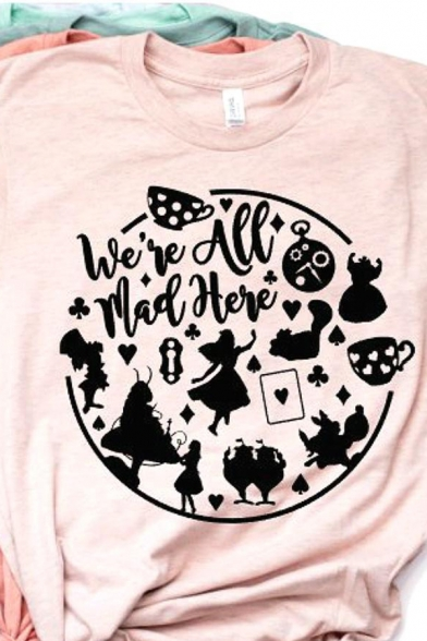 Cute Cartoon WE'RE ALL MAD HERE Letter Printed Short Sleeve Crew Neck Pink Loose T-Shirt LC569970 фото