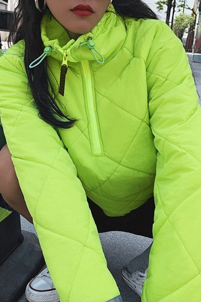Fluorescent Green Half Zip Color Blocked Stripe Long Sleeve Lightweight Quilted Jacket Padded Coat