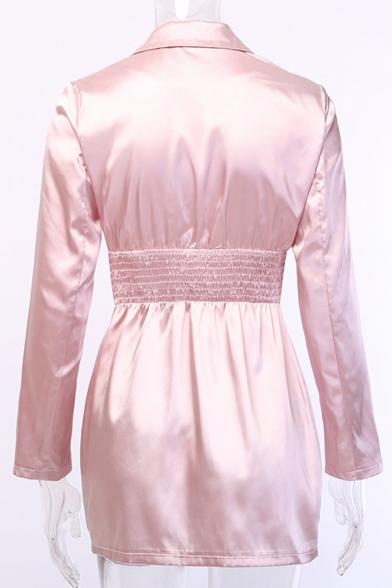 Ladies Sexy Long Sleeve Gathered Waist Zip Up Split Plain Pink Longline Satin Blazer