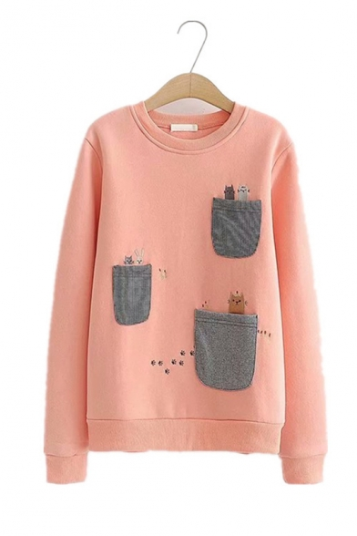 Lovely Cats Patched Pocket Long Sleeve Round Neck Thick Casual Pullover Sweatshirt
