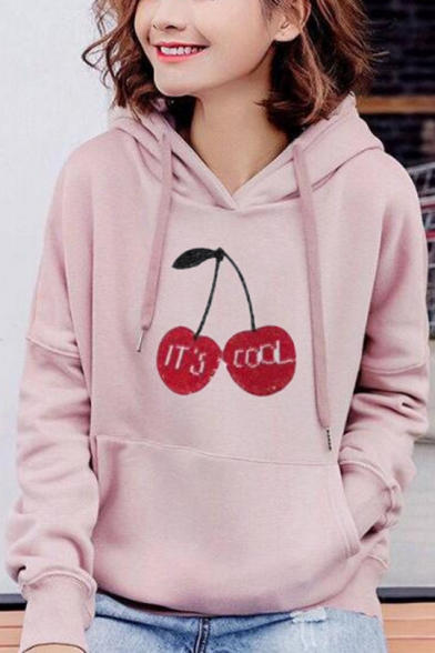 Simple Letter Cherry Pattern Long Sleeve Pouch Pocket Oversized Drawstring Hoodie, Black;pink;red;white;grey, LC569537