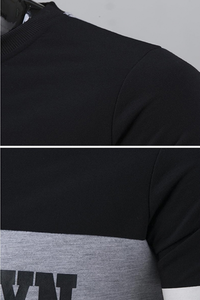 Simple Letter Printed Colorblock Striped Long Sleeve Round Neck Casual Pullover Sweatshirt
