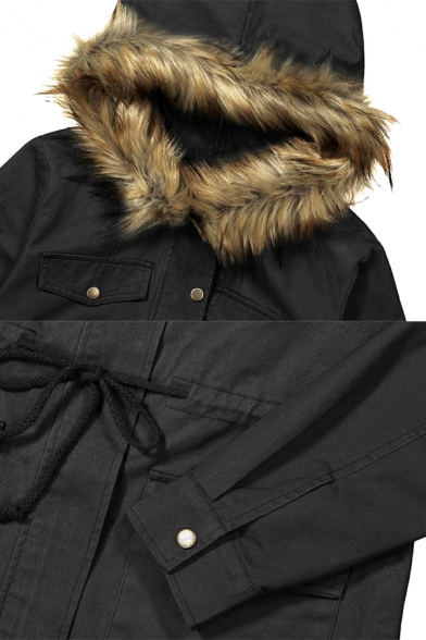 Stylish Fur-Trimmed Hood Long Sleeve Drawstring Waist Flap Pocket Longline Parka Coat