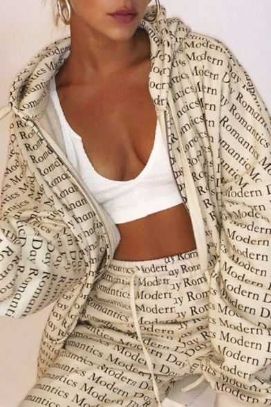 Womens Beige Fashionable Allover Letter Printed Long Sleeve Zip Up Loose Boyfriend Hooded Coat Jacket