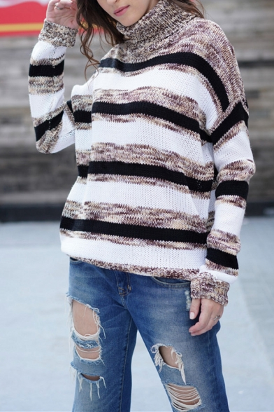 Womens Casual Streetwear Striped Printed Long Sleeve Turtle Neck Loose Pullover Sweater