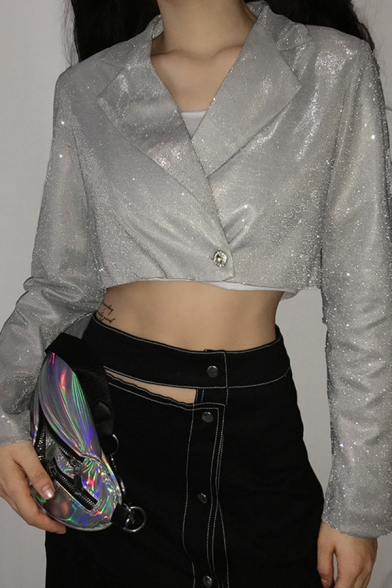 Womens Cool Silver Glitter Long Sleeve Single Button Cropped Blazer Coat