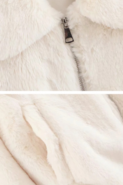 Womens Plain White Lapel Collar Long Sleeve Full Zip Faux Rabbit Fur Warm Coat with Pocket