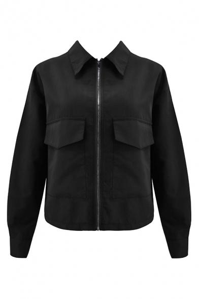 Womens Simple Plain Lapel Collar Long Sleeve Zip Up Short Casual Work Jacket Coat