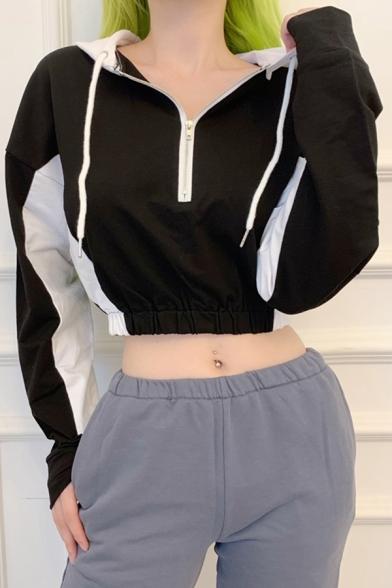 Womens Trendy Color Block Drawstring Hood Long Sleeve Half Zip Crop Hoodie Top LM568570 фото