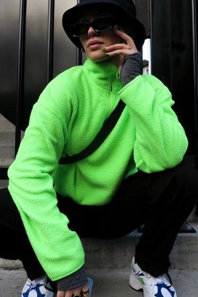Fashion Stand Up Collar Long Sleeve Half Zip Plain Green Lamb Fur Loose Pullover Sweatshirt