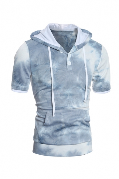 Fashionable Blue Tie Dye Print Short Sleeve Button Front Fitted Drawstring Hoodie with Pocket