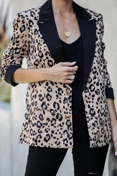 Fashionable Contrast Lapel Collar Leopard Pattern Long Sleeve Double Button Loose Fit Casual Blazer Coat
