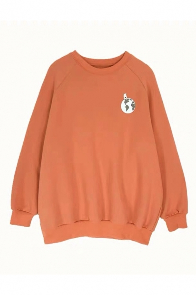 Girls Chic SAVE OUR PLANET Printed Back Long Sleeve Casual Loose Fit Pullover Graphic Sweatshirt