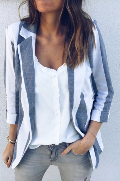 Gray and White Stripes Print Lapel Collar Roll Sleeve Open Front Commute Blazer