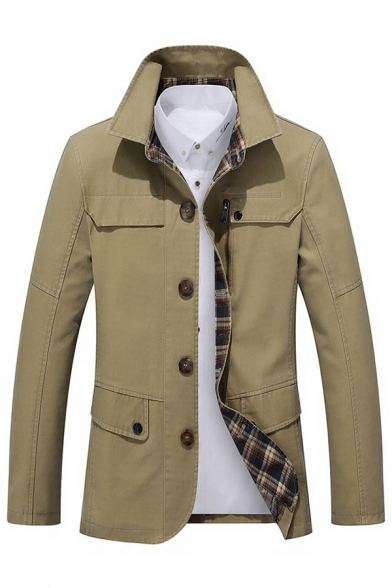 Mens Fashionable Plain Khaki Lapel Collar Button Down Casual Shirt Jacket