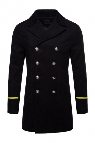 Mens New Trendy Lapel Collar Stripe Long Sleeve Double Breasted Mid-Length Wool Pea Coat