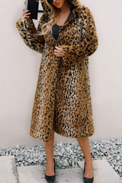 Popular Winter Leopard Printed Long Sleeve Hooded Longline Fuzzy Fleece Coat for Women