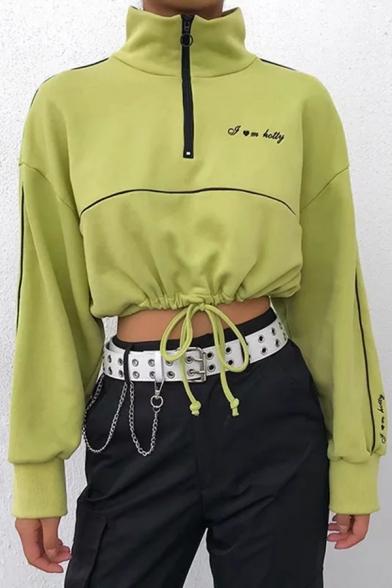 Stylish Green Embroidery Letter Stand Up Collar Half Zip Drawstring Hem Cropped Sweatshirt, LM567058