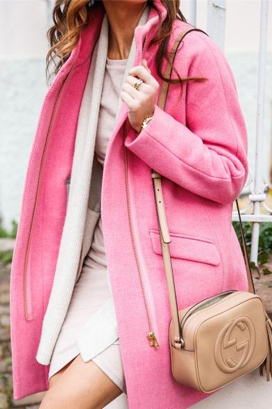 Winter Fashion Solid Color Long Sleeve Flap Pocket Zip Up Longline Loose Wool coat