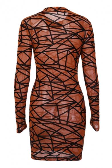 Womens Sexy Allover Irregular Geometric Pattern Long Sleeve Mock Neck Mesh Bodycon Dress