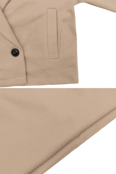 Womens Simple Plain Notched Collar Long Sleeve Double Button Short Woolen Coat with Pocket