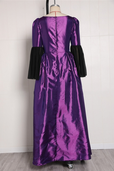 Womens Vintage Medieval Costume Sweetheart Neck Lace Panel Half Bell Sleeve Floor Length Gown Dress