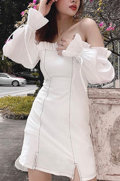 Girls Sexy Color Block Stringy Selvedge Trim Off Shoulder Bell Sleeve Side Split Slim Fit Mini Dress