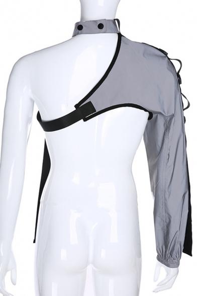 Ladies Hot Popular Street Punk Reflective One Shoulder Irregular Cargo Crop Top Sweatshirt