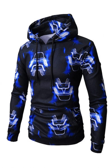 Mens Fancy Abstract Pattern Long Sleeve Fitted Casual Pullover Drawstring Hoodie