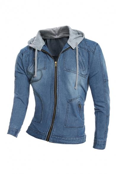 Mens Fashionable Patched Hood Long Sleeve Zipper Slim Fit Washed Denim Jacket