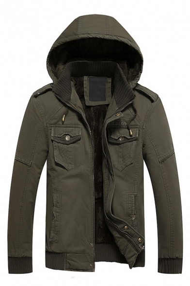 New Stylish Mens Plain Slim Fit Long Sleeve Flap Pocket Thick Hooded Cargo Jacket with Epaulets