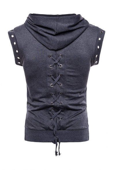 Summer Fashionable Plain Lace-Up Back Round Hole Sleeveless Drawstring Hooded Hoodie Vest