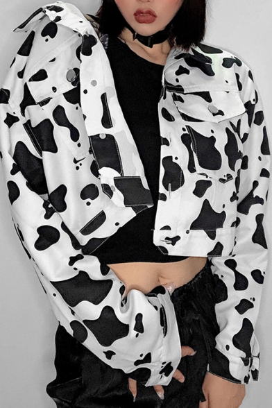 Womens Casual Cow Print Long Sleeve Single Breasted Cropped Denim Jacket Coat with Flap Pocket