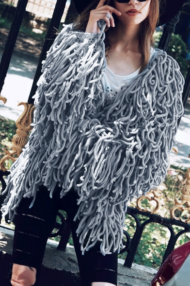 Womens Designer Long Sleeve Open Front Faux Fur Unique Tassels Coat