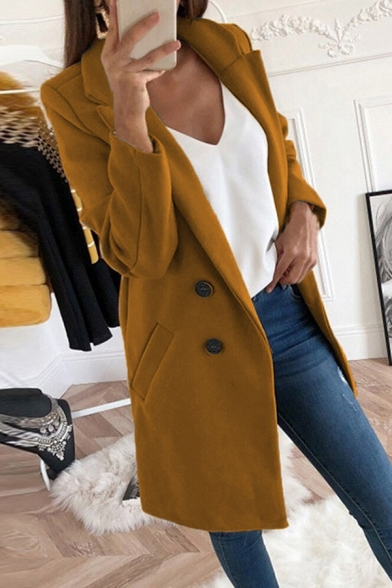 Womens Fashionable Notched Collar Long Sleeve Double Breasted Longline Plain Woolen Overcoat