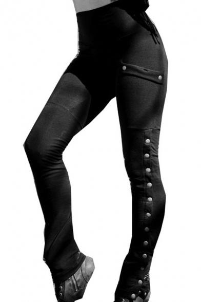 Femmes à la Mode Brut Taille Haute Orné de Rivet Split Skinny Crayon Pantalons avec Poche